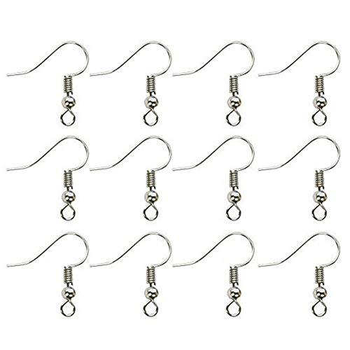 100 Stück Edelstahl Ohrring-Haken Ohrhaken Mit Kugel Und Coil-Silber-Ton Hypoallergene Fisch Ohrring-Haken Für DIY Schmuckherstellung