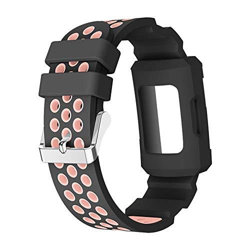 Fcostume Silikagel Buckle Band Strap WatchbandBelt + Gehäuse für Fitbit Charge 3 (Orange)