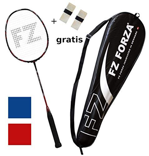 FZ Forza - Badmintonschläger Airflow 74 Lite für Fortgeschrittene - Schlägertasche & 2 Badminton Racket Grip gratis,rot