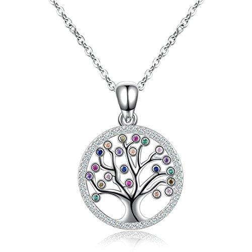 Collar para mujer, árbol de la vida, collar de plata de ley con colorido árbol de la familia