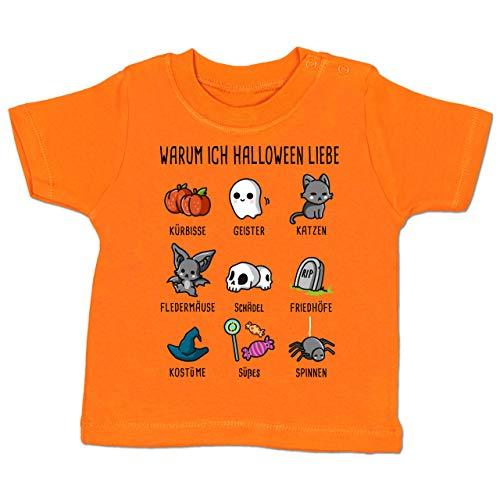 Anlässe Baby - Warum ich Halloween Liebe - 18-24 Monate - Orange - BZ02 - Baby T-Shirt Kurzarm