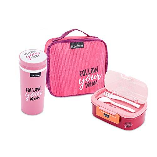 Bento Box Rosmarino I Lunchbox mit 2 Fächern I Brotdose Kinder mit Trinkflasche I Premium Vesperdose kinder mit trennwand, Mittagessen Thermobox, BPA-frei (Rosa)