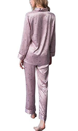 Dolamen Damen Satin Schlafanzug Nachthemd Negliee, 2018 Sleepshirt Paare Schlafanzug Silk, Luxus und Attraktiv Ladies lang Nachtwäsche Nachtkleid Lingerie Pyjamas Sleepwear (Medium, Rosa) - Luxus Nachtwäsche