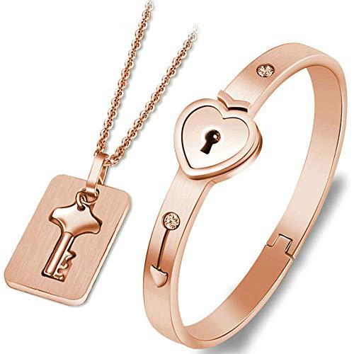 Ohyoulive Couple Bracelet Necklace Set Stainless Steel Love Heart Lock Jewelry Set -