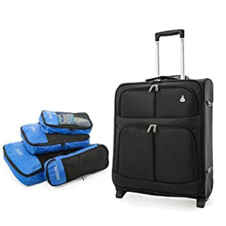 Aerolite 56x45x25 Tamaño Máximo de Easyjet, Iberia, Jet2 y British Airways 60L Trolley Maleta Equipaje de mano cabina ligera con 2 ruedas, Negro