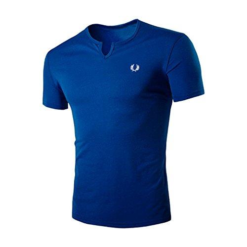 Amlaiworld Sommer Slim Fit V-Neck T-Shirts T-Shirt für Männer, 2017 Sexy Kurzarm T-Shirts Prime Day (M, Blau)