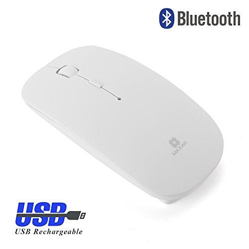 Bluetooth Maus drahtlos Kabellos MAXAH Ultra Slim Maus Wireless 1600 DPI für W98/W2000/XP/VISTA/Win 7/Mac/Android (Weiß,USB Wiederaufladbar) - Wiederaufladbare Bluetooth Laser Maus