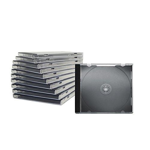 CD Jewelcase /CD Hüllen /CD Leer Hüllen für 1 CD/DVD, transparent, Tray schwarz (10mm) 50 Stück im Karton