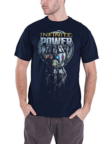 Marvel Merch Avengers Infinity War T Shirt Infinite Power Glove Official Mens Navy Blue