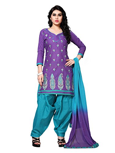 FabFactory Purple & Sky Blue Cotton Embroidery Unstitched Semi Patiala Salwar Suit...