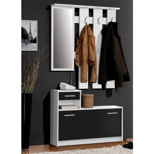 FORTE Kompaktgarderobe inklusive Spiegel, Schwarz-Weiß, 97.5 x 25 x 180 cm
