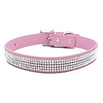DcolorBling Plein Strass Animal PU Cuir Diamant Chat Chiot Chien Colliers (Rose, L: la taille du cou pour 14