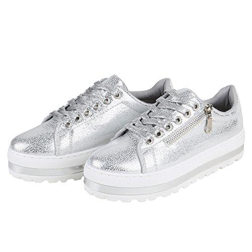 Damen Plateau Sneakers | Sneaker Metallic Cap | Lack Schuhe Blumen | Allyear Schuhe Velours Schleifen Silber Zipper