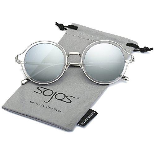 SOJOS Polarisierte Runde Sonnenbrille Schick Metallrahmen Sonnenbrillen Damen Herren SJ1058 mit Silber Rahmen/Silber Polarisierte Linse