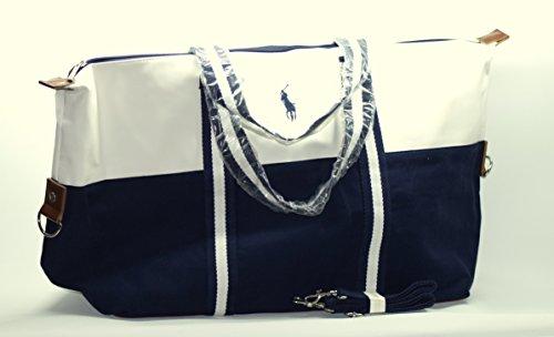 Ralph Lauren Große Herren-Reisetasche, für Sport oder Reisen, Wochenendtasche, blau/weiß