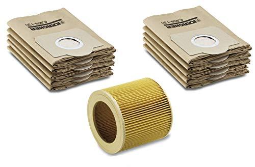 Filter-Set für Kärcher Nass-/Trockensauger mir original Kärcher Patronenfilter (6.414-552.0) inkl. Verschlussschraube & Kärcher Papierfilterbeutel (6.959-130.0)