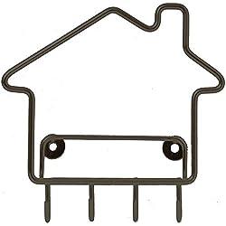 Bazardeluxe - Porta-posta e chiavi a muro a forma di casa, di metallo, 4 ganci, colore: nero