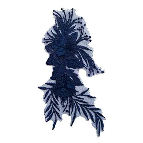 Scrox 1pcs Bordados para Ropa Estilo Nacional Patch Sticker Mariposa Flors Parches Bordados DIY Accesorios Decorativos Parches Ropa (Azul Marino)