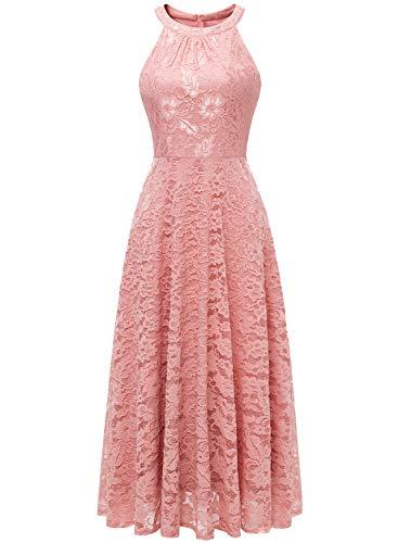 MUADRESS MUADRESS MUA6012 Damen Abendkleid Maxi Spitzenkleid Lang Schulterfrei Ärmellos Floral Blush XS