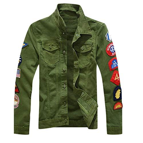 Wascoo Herren Jeansjacke Slim Fit Outdoor Leichte Jacken Mantel(Grün,EU Size 2XL = Tag 3XL) -