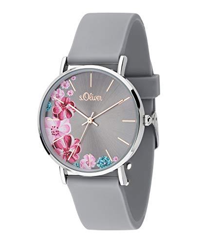 s.Oliver Damen Analog Quarz Uhr mit Silikon Armband SO-3707-PQ