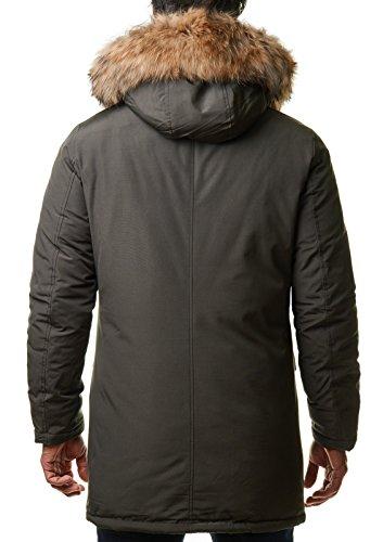 Burocs Herren Parka Winter-Jacke Kunst-Fell Imitat Kapuze Schwarz Khaki BR1625, Größe:XXL, Farbe:Khaki - 3