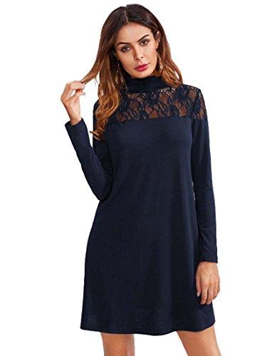 ROMWE Damen Elegant Kleid mit Spitze-Detail A-Linie Spitzenkleid Marineblau L