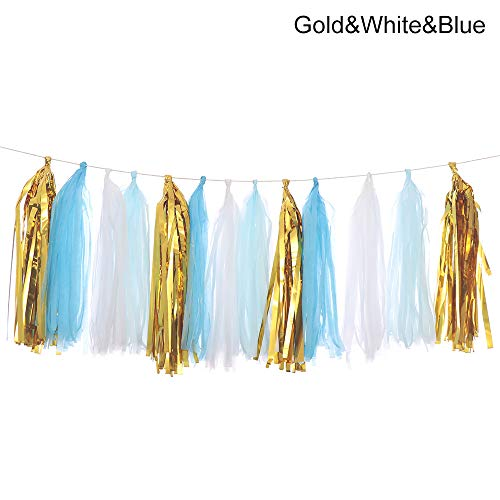 ding Decoration Hanging Banners Tissue Kids Favors Party Garland Paper Tassel(Gold&White&Blue,Gold&White&Blue) ()