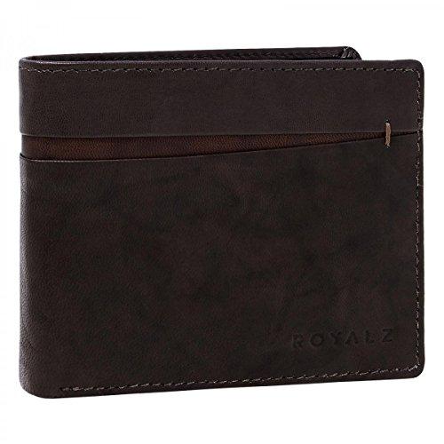 ROYALZ Vintage Portemonnaie aus Leder für Herren Geldbörse mit RFID Schutz Brieftasche im hochwertigem im Vintage Design, Farbe:Novara Braun (Leder Tri-fold Geprägtes Wallet)