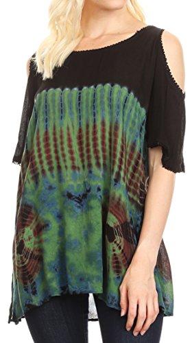 Sakkas 18789 - Luz Damen Cold Shoulder Bohemian ethnischen Stil Bluse Top Tie Dye Flare - Grün - OS -