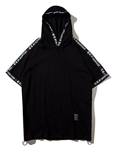 Pizoff Herren Hip-Hop übergrosse kurzärmige Kapuzen T-Shirt mit tifer Schalternaht Reißverschluss (Adidas Galaxy Cap)