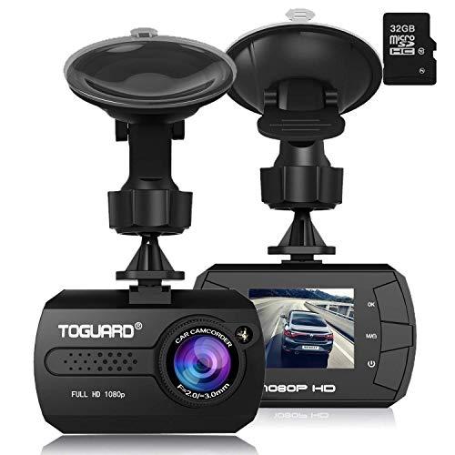 TOGUARD Mini Full HD 1080P Cámara De Coche, Dash CAM Gran Ángulo DASHCAM, G-Sensor, Registro Continuo - Una Tarjeta Micro SD 32 GB Incluidas