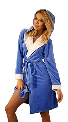Damen Warm Morgenmantel Tupfen Baumwolle Weich Bademantel Mit Kapuze Blau