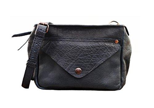 48978e6a74 LEGAVROCHE Bleu Encre petit sac bandoulière en cuir souple façon Bubble  style Vintage PAUL MARIUS