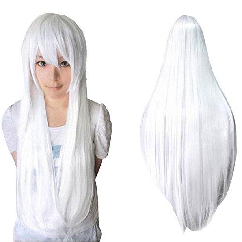 Malloom® 80cm Longue Ligne Droite Perruque Cosplay Multicolore Chaleur Pleines Perruques Résistants (Blanc)