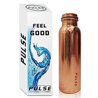 Wasserflasche aus reinem Kupfer, neues Modell 2018, fugenfrei, auslaufsicher, gesund, handgefertigt, Weihnachtsgeschenk (900 ml), von Pulse kupfer