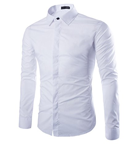 Cloud style Chemise habillee Chemise manches longues unie Coupe slim fit Business-Hommes - Large - Blanc Cloud Style
