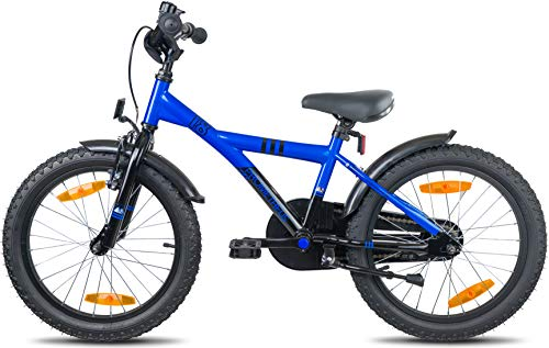 Prometheus Bicicletta per bambini e bambine dai 6 anni nei colori blu e nero da 18 pollici con freno a V in alluminio e contropedale – BMX da 18″ modello 2019 - 4