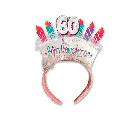 Diadema 60 años Tarta Velas Accesorio Gadget cumpleaños