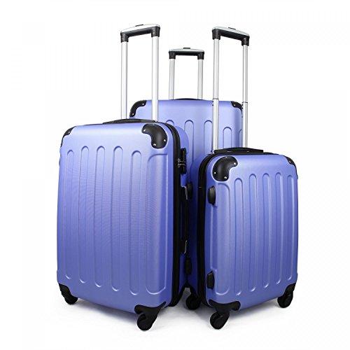 Leogreen - Set de Valises, Lot de Valises à Roulettes, Coins protégés, 51 61 71 cm, Bleu ciel, ABS, Matériau: Plastique ABS, Poids: 3 kg (petit) 3,5 kg (moyen) 4,5 kg (large)