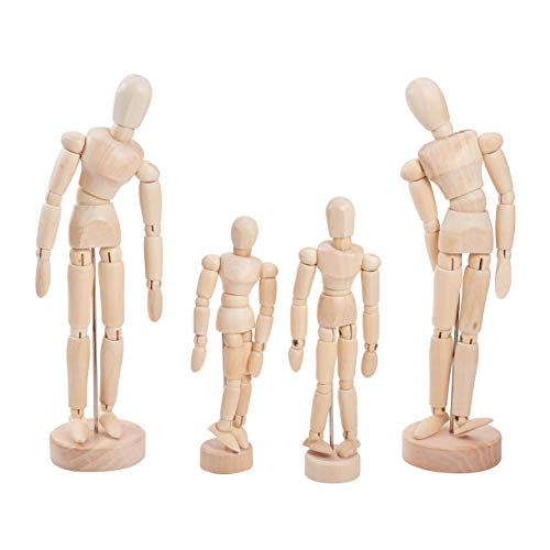 WANDIC Wooden Manikin Blockhead, 4 Pcs Wood Artist Figure Doll Model for Sketch Charcoal Home Office Desk Decoration Children Toys Gift