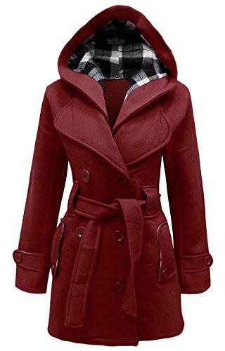 Samantha's Damen Mantel Rot Weinfarben