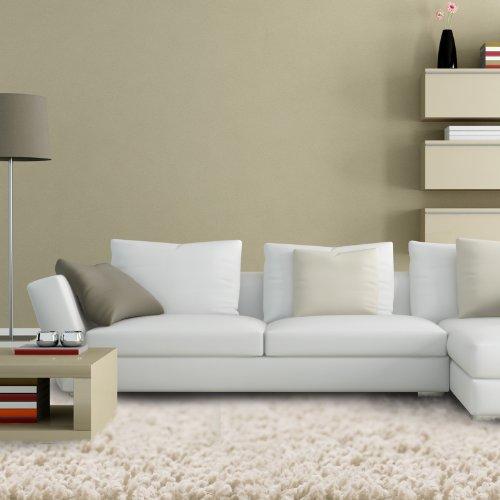 Floori® Shaggy Teppich | Creme - Größe wählbar - GuT-Siegel/PRODIS - moderner Wohnzimmerteppich