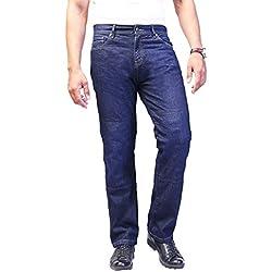 los pantalones vaqueros de la motocicleta. Pantalones para hombre de la moto. Aramida forrado. Protectores libres. 30W x 30L