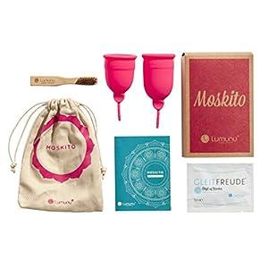 Deluxe Menstruationstassen MOSKITO im 2er-Set, Menstruationskappen aus 100% Silikon, wiederverwendbare & umweltschonende Tampon-Alternative inkl. Natur Reinigungsbürste & Aufbewahrungsbeutel, pink, von Venize