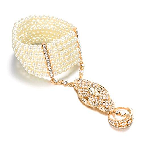 Vintage Simuliert Perlen Armband Ring Set Dehnbar Great Gatsby Inspirierte Frauen 1920er Retro Accessoires für Hochzeitsfeier (Vergoldet)