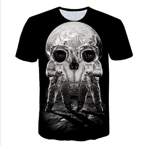 Herren Neuheit T-Shirt 2019 Sommer Casual Kurzarm 3D Digital Gedruckt T Shirt Tops Premium,Neuheit 3D-Druck - A Grey XL (Baby Adams Familie)