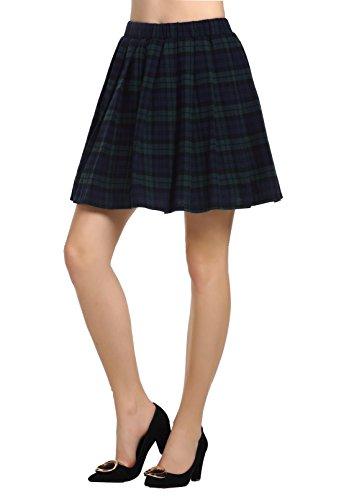 AMORETU Damen Schulmädchen-Stil Tartan Skater Röcke Armeegrün Größe S