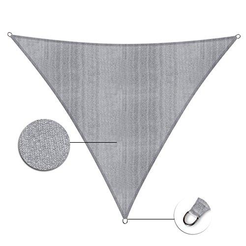 Galleria fotografica Lumaland tenda da sole triangolare 3 x 3 x 3, con incluse corde di nylon per il montaggio, 100% HDPE con filtro di protezione UV,grigio chiaro