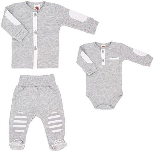 Baby-Mode erstausstattung 3pz. Body, giacca, e pantalone con piede-Collezione My Bear (56-68) Grau 3 mesi